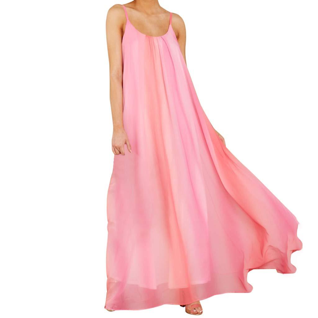 Women Strap Swing Maxi Dress ❤ Summer Loose Scoop Neck Sleeveless Pleated Solid Flowy Long Beach Sundress (Large, Pink)