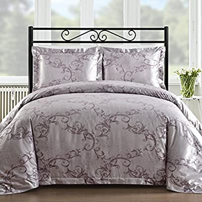 Comfy Bedding Cotton Bocade 3 Pieces Duvet Cover Set (Queen, Lavender) - Satin jacquard fabric gives these sheets a silky soft touch and lustrous sheen, colored threads making the design stand out against a satin weave background Back cloth made with 100% cotton for luxurious softness and durability Machine washable and wrinkle resistant for easy care - comforter-sets, bedroom-sheets-comforters, bedroom - 51knciPifsL. SS400  -