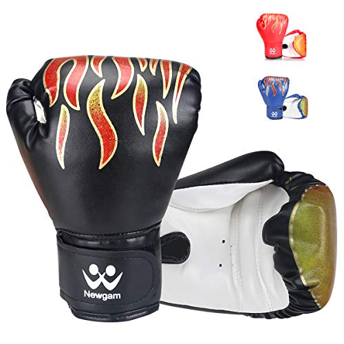 Newgam Kids Boxing Gloves, Children Junior Sparring Kickboxing Training Gloves,Junior Punch Bag MMA Training Muay Thai Mitts – PU Leather – 5oz for 3 to 14 YR – DiZiSports Store