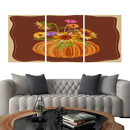 Prints Wall Art PaintingsComposition with autumn symbols yellow sunflower orange pumpkin gerbera daisy flower Embroidery (imitation satin stitches style) on brown background digital draw for design