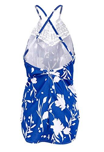 Minetom Femme Sexy Mini Robe Florale En Crochet Slim Dos Nu D'Été Playsuit Parfait Pour Party/Soirée/Bar/Cocktail