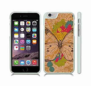 iStar Cases? iPhone 6 Plus Case with Butterfly Linework on Paint Splatter Background, Multicolored , Snap-on Cover, Hard Carrying Case (White)