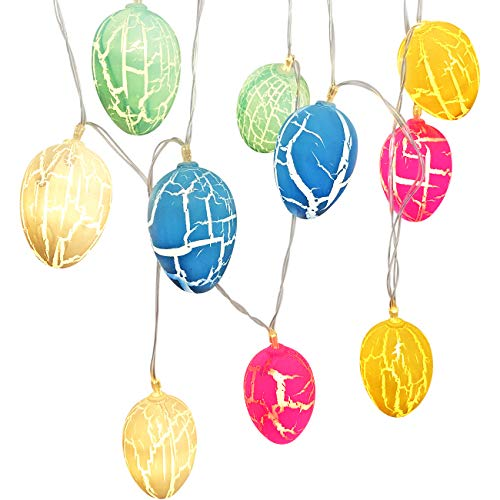 Easter Egg Lights (10 LED Bulbs), Tinabless Easter Eggs String Lights Battery Powered, Fairy String Lights for Easter Holiday Party Home Garden Decoration 4.9 ft from Tinabless