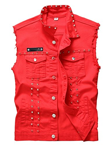 DSDZ Men's Punk Denim Vest Sleeveless Jean Jackets with Rivets Red XL US -