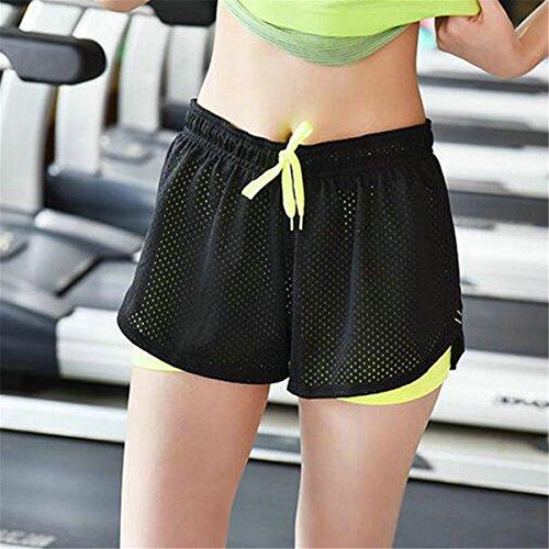 ECYC Da Da Abbigliamento Di Traspiranti Sportivo Pantaloncini Atletico Da Pantaloncini Yoga L'Esecuzione In Donna Mesh Verde Estivi Ladia A01 rrS0w
