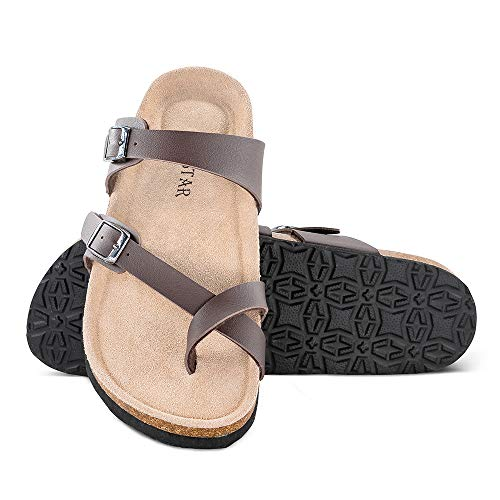 (TF STAR Mayari Leather Sandals,Adjustable Flat Casual Slippers for Women & Ladies, Flip-Flops Ring Open Toe Slide Cork Footbed for Teenagers/Girls)