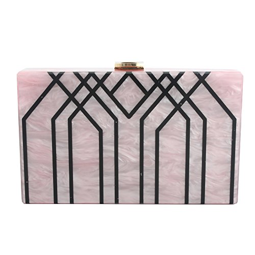 Handbag Box Shoulder Evening for Party Pink Bag Clutch Evening Stripes Acrylic Bag LETODE Champagne wq5CE44