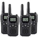Rivins RV-7 Walkie Talkies Long Range 4 Pack 2-Way Radios Up to 5 Miles Range in Open Field 22 Channel FRS/GMRS Walkie Talkie UHF Handheld Walky Talky (Black/Orange)