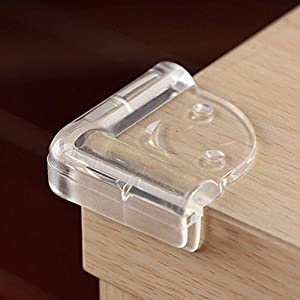 4 Pcs Clear Soft Plastic Desk Corner Pad Cover Table Edge Protector Cushion for Baby Safety with Cosmos Fastening Strap