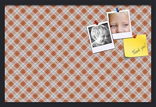 PinPix ArtToFrames 30x20 Inch Custom Cork Bulletin Board. This Argyle Burnt Orange Pin Board with a Fabric Style Canvas Finish, in a Satin Black Frame (PinPix-634-30x20_FRBW26079) ()