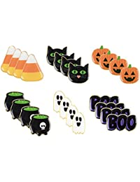 Halloween Pins - 24-Pack Enamel Pins, Lapel Pins for Halloween Costume Parties, Kids Party Favors, 6 Designs, 1.1 x 0.3 x 1.1 Inches