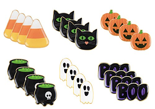 Halloween Pins - 24-Pack Enamel Pins, Lapel Pins for Halloween Costume Parties, Kids Party Favors, 6 Designs, 1.1 x 0.3 x 1.1 Inches]()
