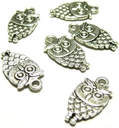 perlesmania.com Lot de 20 pendentifs breloque Petits Hibou m/étal Couleur Argent Antique 2Y3422