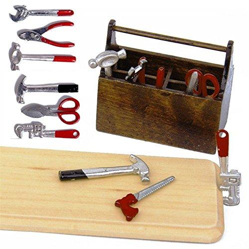 ZevenMart 1/12 Dollhouse Miniature Wooden Box With Metal DIY Tool Set Kit (Blown Player Ornament)