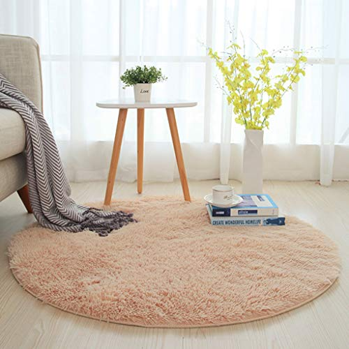 Household Bedroom Luxurious Floor Carpet Living Room Multi-Size Round Area Rugs Solid Super Soft Shaggy Chair Mat -\# (Color : Camel, Size : 120cm)