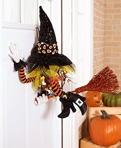 Flying Witch On Broom Animated Prop (Crashing in Door Witch w/ Hat and Broom Whimsical Haunted House Prop Primitive Halloween Fall Wall Hanging Door Wreath Decor)