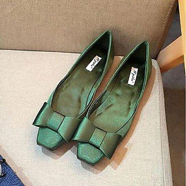 Cómodo y elegante soporte de zapatos de las mujeres pisos primavera otoño otros seda vestido Casual soporte de tacón con lazo negro verde rojo Walking verde