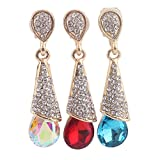 Grace Jun Gold Plated Full Rhinestone Crystal Long Drop Earrings and Clip on Earrings Without Piercing
