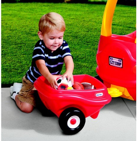 Cozy Coupe Car With Pull Behind Trailer Hitch Kids Ride On Toy