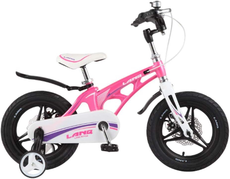 MQYZS Bicicleta Infantil para niños y niñas a Partir de 2-7| Bici 12-14-16-18 Pulgadas con Frenos,Ruedines de Entrenamiento Desmontables,Rosado,12 Inches