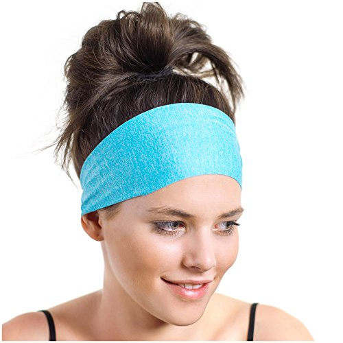 Prana Cotton Headband - Workout Headband - the Perfect Running Sweatband - Wide, Moisture Wicking - Aqua Sports Bandana - Designed for Women Borrowed by Men - by Red Dust Active