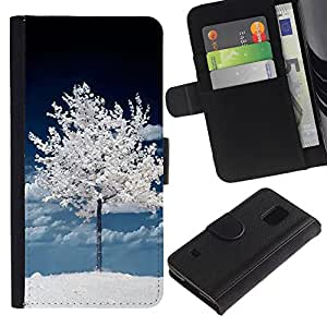 KingStore / Leather Etui en cuir / Samsung Galaxy S5 V SM-G900 / Árbol Oscuro Blanco Invierno Naturaleza Nieve