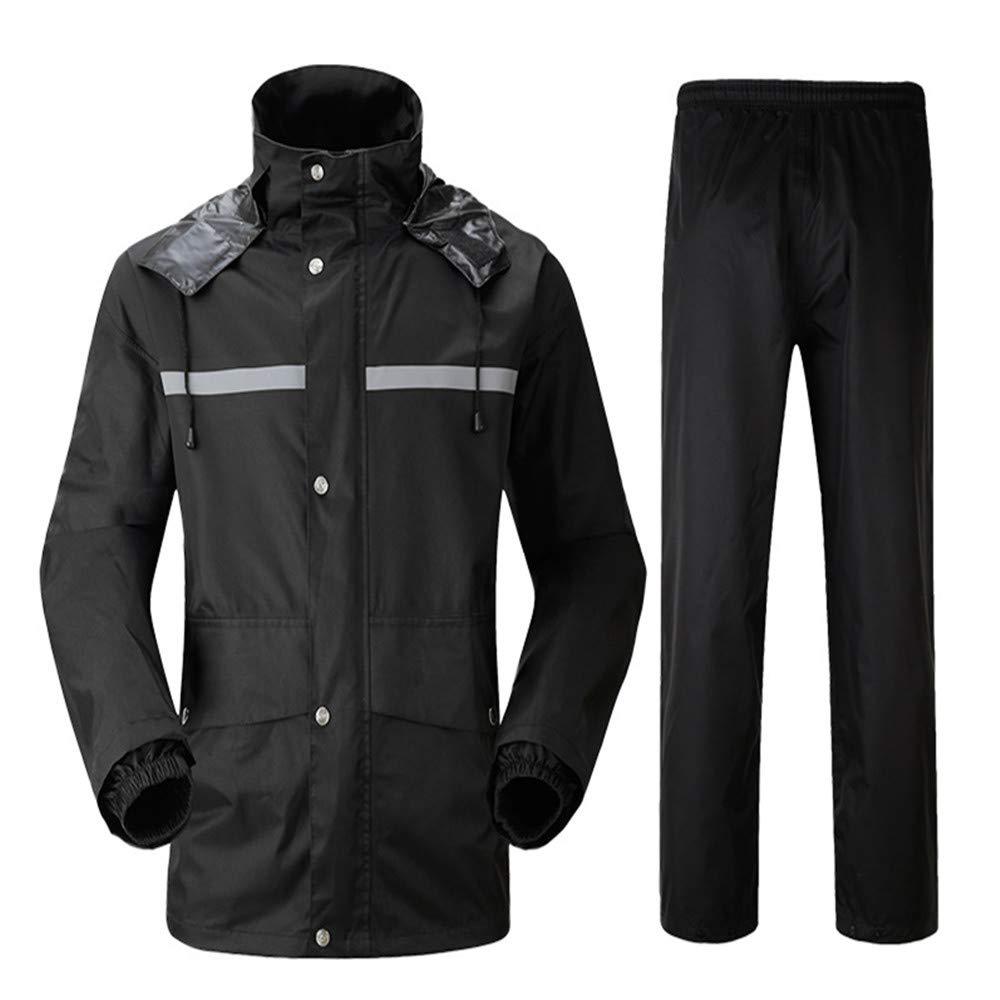 Wasserdichte Jacke für Damen und Herren Wasserdichte Regenjacke und Hose, reflektierender Sicherheits-Regenmantel-mit Kapuze Poncho-Klage-Motorrad-Regen-Mantel-Hosen stellten schützende Ausrüstung für