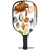 AngelDOU Aquarium Lightweight Neoprene Pickleball Paddle/Racket Cover Case Different Kind of Sea Animals Tortoise Jellyfish and Fishes Exotic Cartoon Style Decorative Durable and Portable.Multicolor