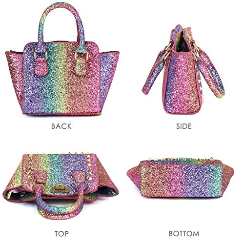 CMK Trendy Kids My First Shinny Glitter Rainbow Purse for Little Girls Toddlers Mini Tote with Poms (80003_Rainbow) by CMK Trendy Kids (Image #4)