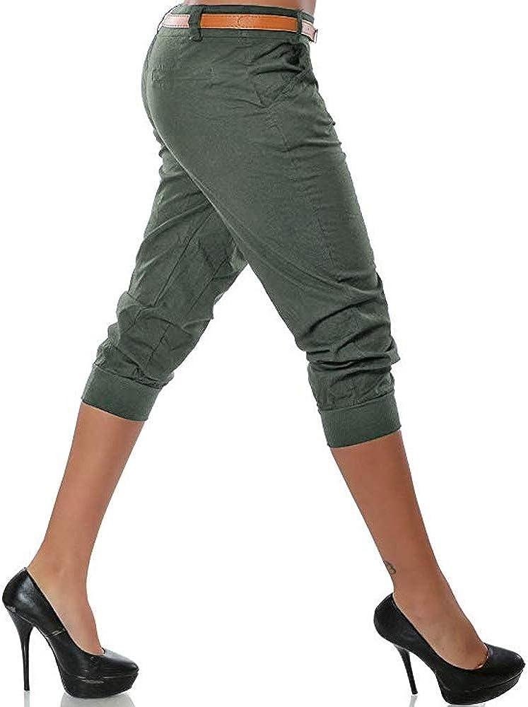 3//4 de longitud sin cintur/ón para mujer Pantalones pirata para mujer Shujin ligeros