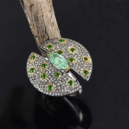 Genuine 0.65 Ct. Pave Diamond Green Amethyst Tsavorite Designer Cocktail Ring Solid 925 Silver Wedding Vintage Jewelry Women's Day Gift For Her Same Day Shipping