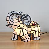 Royal-Tiffany Style Fresh Pastoral White Elephant Table Lamp Children's Lamp Night Light