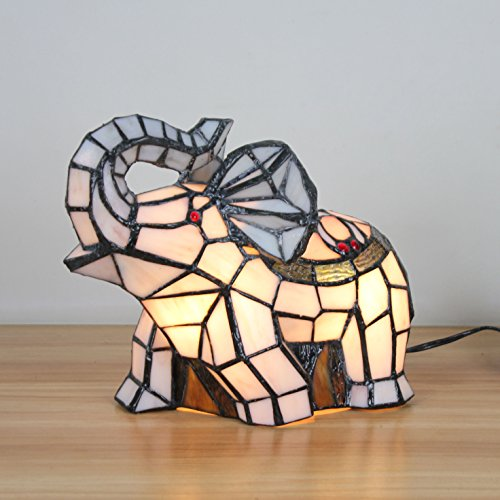 Royal-Tiffany Style Fresh Pastoral White Elephant Table Lamp Children's Lamp Night Light by Animal Night Light