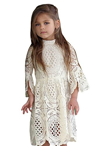 Girls Vintage Flower Country Dress White Long Knitted Lace -