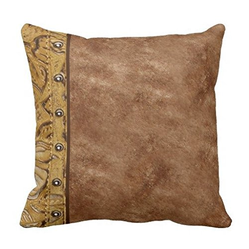 (Cowhide And Tooled Alligator Leather Faux Studs Throw Pillow Case 18*18)