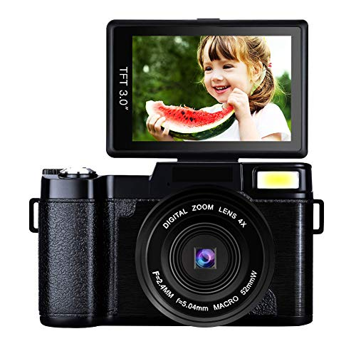 Digital Camera Comcorder Video Cameras 4X Digital Zoom Vlogging Camera Point and Shoot Digital Cameras 24MP Selfie Mirrorless Camera with Flip Screen for Kids