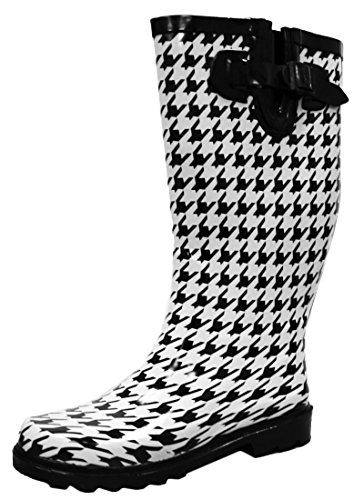 Print Welly Pattern Waterproof Select Black Cambridge Rain Colorful Boots Women's White Houndstooth nYaqtxxCw