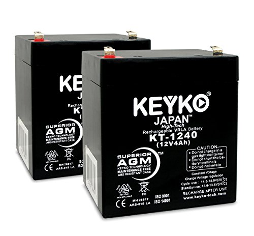 Casil CA1240 12V 4Ah SLA Alarm Battery SLA Sealed Lead Acid Rechargeable Replacement battery for Alarm Control System AGM Genuine KEYKO KT-1240 F1 Terminal - 2 Pack