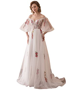 ade3121a10 Aiyi Womens Embroidery Off Shoulder Flouncing Sleeve Wedding Dress Evening  Gown US2