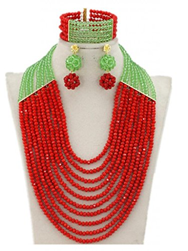 Soyagift Africa Wedding Long Style 10 Rows Flower Red Crystal Beads Jewelry Set by Soyagift
