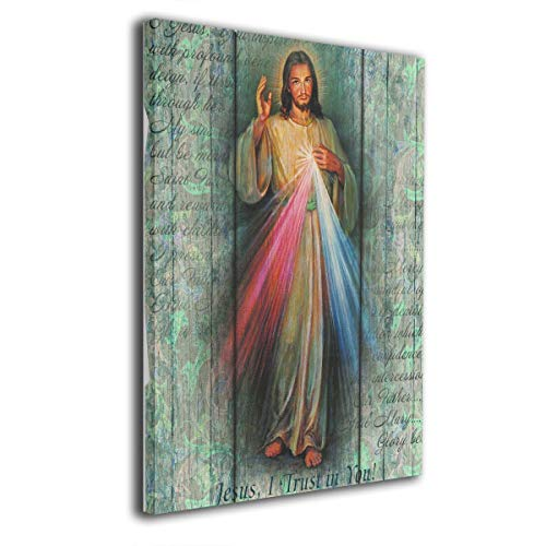 Art-logo Rustic Divine Mercy Trust in Jesus Modern Canvas Wall Art Photo Printed On Canvas Framed Artwork for Office Wall Decoration Ready to Hang 16x20inches ()
