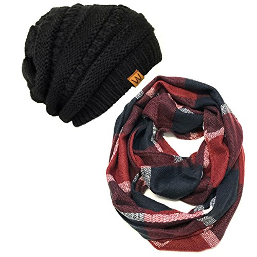 Wrapables Plaid Print Infinity Beanie