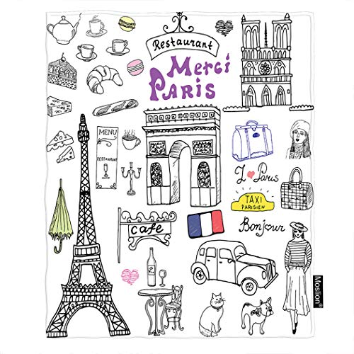 Moslion Paris Blanket Eiffel Tower Cat French Bulldog Cafe Car Triumph Arch Cathedral Vintage European City Throw Blanket Flannel Home Decorative Soft Cozy Blankets 40x50 Inch for Baby Kids Pet