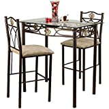 home source industries crown bistro 3piece dining set with glass table top and 2 chairs