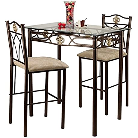 Home Source Industries Crown Bistro 3 Piece Dining Set With Glass Table Top And 2 Chairs