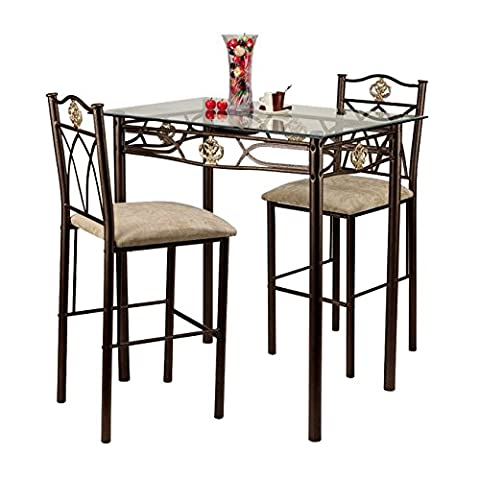 Home Source Industries Crown Bistro 3-Piece Dining Set with Glass Table Top and 2 Chairs - Pub Table Dinette