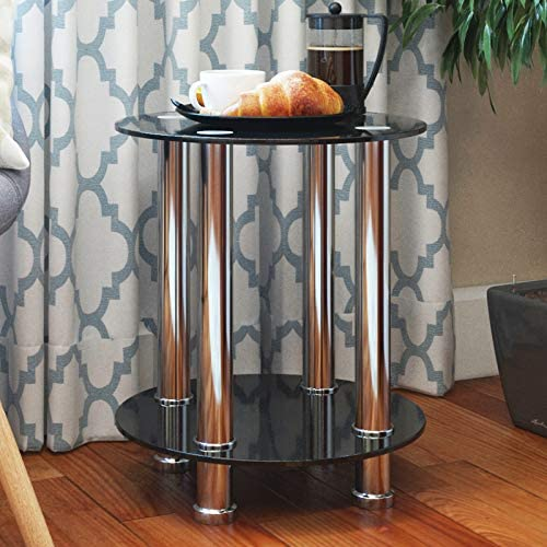 Ryan Rove Aster Round End Table Sofa Table Night Table with Tempered Glass Shelves – Chrome Frame Black Glass
