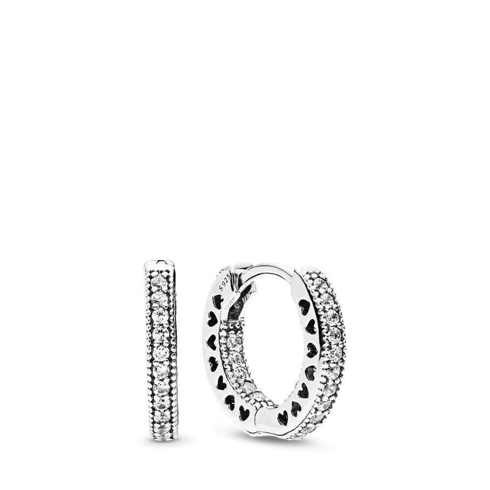 PANDORA Hearts Of Pandora Hoop Earrings, Sterling Silver, Clear Cubic Zirconia, One Size by PANDORA