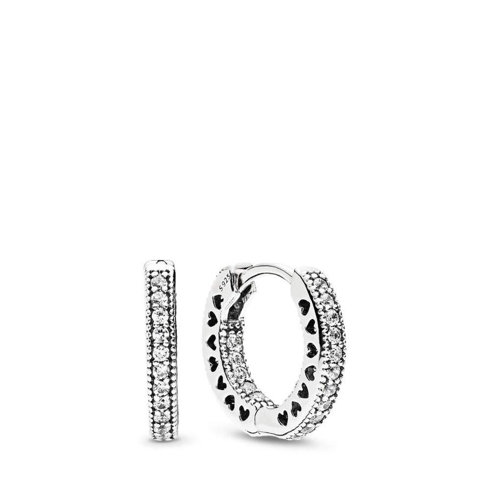 PANDORA Hearts Of Pandora Hoop Earrings, Sterling Silver, Clear Cubic Zirconia, One Size