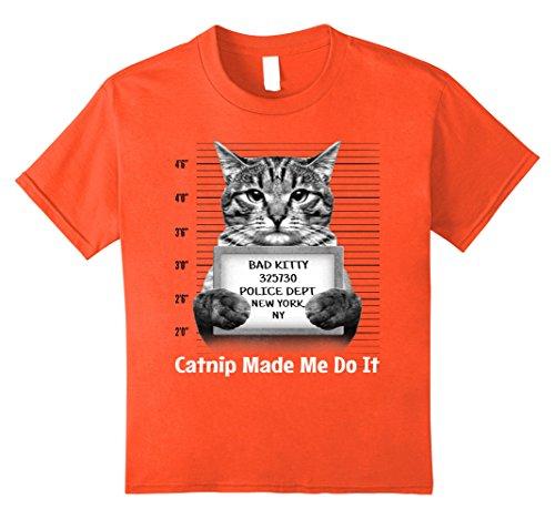 Kids Catnip Made Me Do It Mr Furrypants Kitty Cat Mugshot T Shirt 8 Orange - Kid Catnip